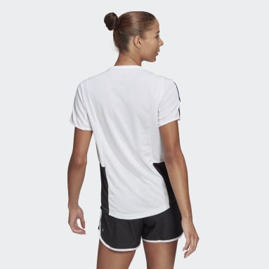 Women Running White Own The Run 3-Stripes Iteration Tee
