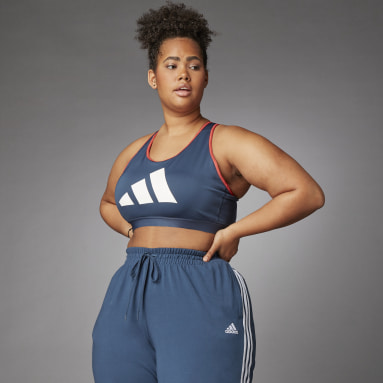 Women's Running Blue Medium Support Don't Rest 3 Bar Bra (Plus Size)
