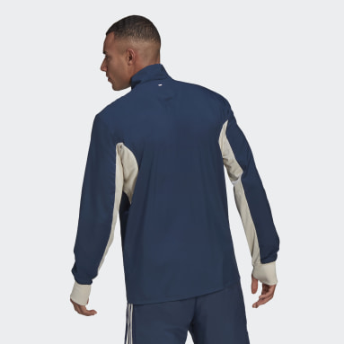 Men's Running Blue Primeblue Half-Zip Running Jacket