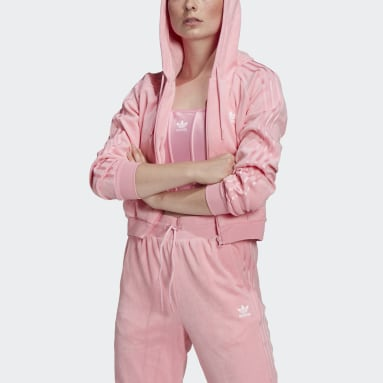 Women Originals Pink LOUNGEWEAR Cropped Full Zip Hoodie
