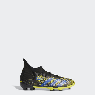 Boys Football Yellow Marvel Predator Freak.3 Firm Ground Boots