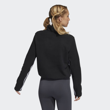 Women's Training Black 3-Stripes Fleece Half-Zip Top
