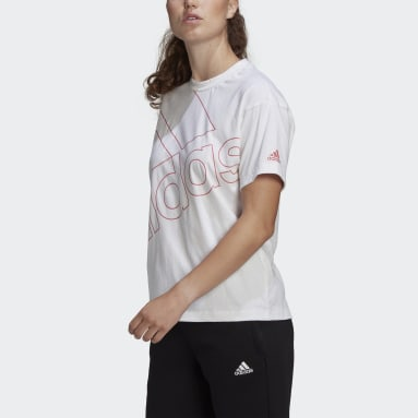 Women's Essentials White adidas Giant Logo Tee (Gender Neutral)