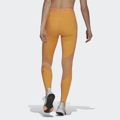 Women Training Orange Mesh Tights