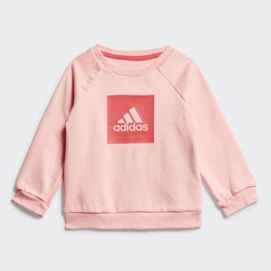 Girls Gym & Training Pink 3-Stripes Fleece Jogger Set
