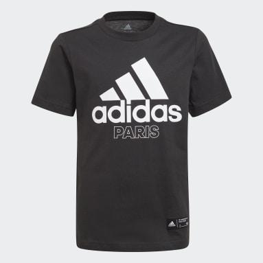 Jongens Fitness En Training Zwart Paris Badge of Sport T-shirt