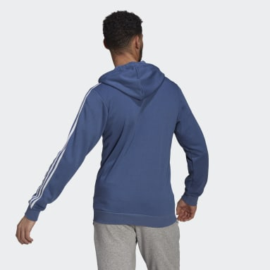 Men Sportswear Blue Essentials French Terry 3-Stripes Full-Zip Hoodie