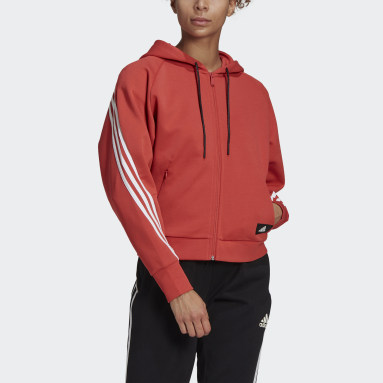 adidas Sportswear Wrapped 3-Stripes Full-Zip Hettegenser Rød