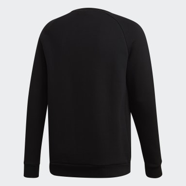 Men Originals Black LOUNGEWEAR Trefoil Essentials Crewneck Sweatshirt