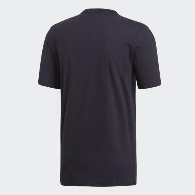 ผู้ชาย เทรนนิง สีดำ เสื้อยืด Essentials Plain