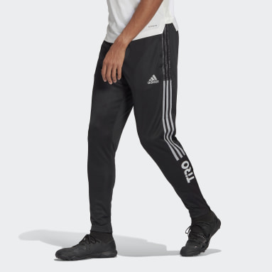 Men Soccer Black Tiro Reflective Wording Track Pants