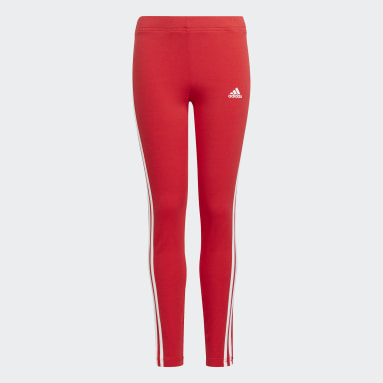 Girls Sport Inspired Red adidas Essentials 3-Stripes Leggings