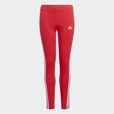 Girls Sport Inspired Red adidas Essentials 3-Stripes Leggings