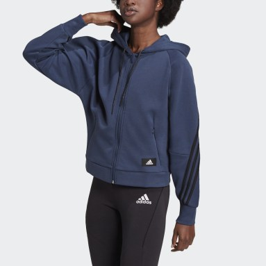 Women Sportswear Blue adidas Sportswear Wrapped 3-Stripes Full-Zip Hoodie
