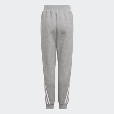 Boys Training Grey Future Icons 3-Stripes Tapered-Leg Pants