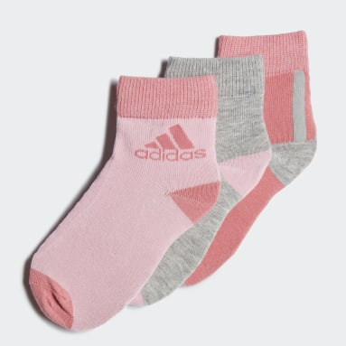 Youth 8-16 Years Gym & Training Pink Ankle Socks 3 Pairs