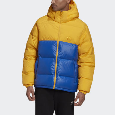 Männer Originals Down Regen Hooded Blocked Puffer Jacke Gelb