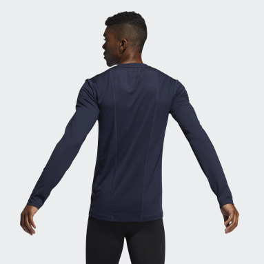 Men Winter Sports Blue Techfit Compression Long-Sleeve Top