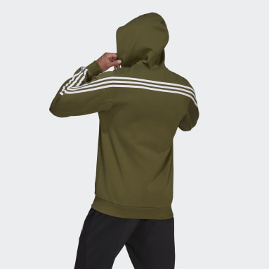 Men Sportswear Green adidas Sportswear 3-Stripes Hooded Track Top