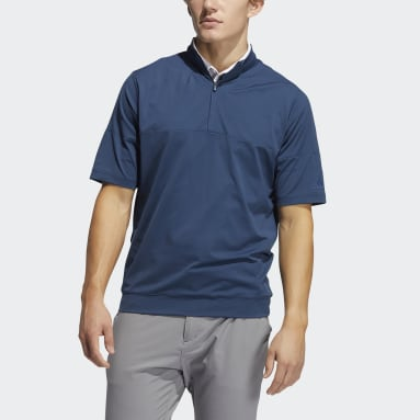 Men Golf Blue Short Sleeve Wind Jacket