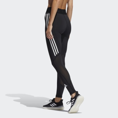 Dames Fitness En Training Zwart Techfit 3-Stripes Lange Legging