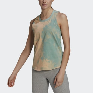 Women's Essentials Turquoise Tie-Dyed Effect Tank Top