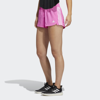 Women Training Pink Pacer 3-Stripes Woven Shorts