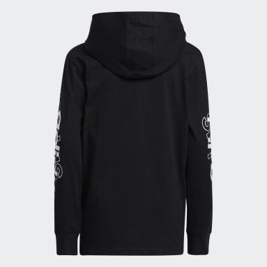 Youth Training Black Long Sleeve Hooded Linear Tee