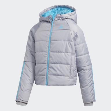 Girls Hiking Grey Crop Waist Hooded Puffer Jacket