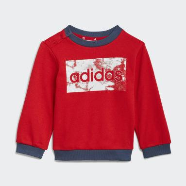 Completo felpa e pantaloni adidas Essentials Rosso Bambini Sportswear
