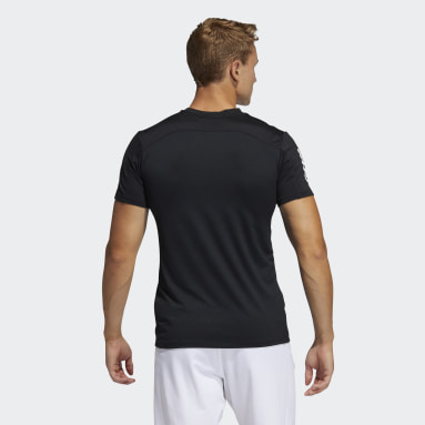 Men Running Black Primeblue AEROREADY 3-Stripes Slim T-Shirt