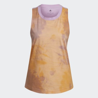 Women's Essentials Orange Tie-Dyed Effect Tank Top