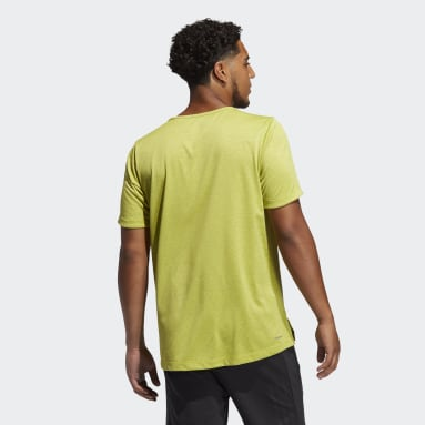 Men's Yoga Yellow AEROREADY 3-Stripes Flow Primeblue Tee