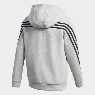Boys Gym & Training Grey 3-Stripes Doubleknit Full-Zip Hoodie