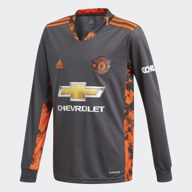 Kids Football Grey Manchester United 20/21 Home Goalkeeper Jersey