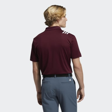 Men's Golf Burgundy 3-Stripes Polo Shirt