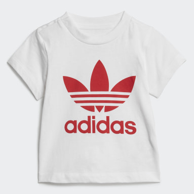 Kinderen Originals Wit Trefoil Short en T-shirt Set