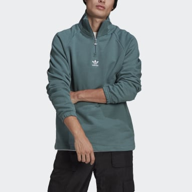 Men Originals Green Adicolor Classics Front and Back Trefoil Half-Zip Sweatshirt