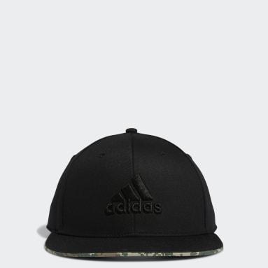 Men Golf Black TP Flat-Brim Hat