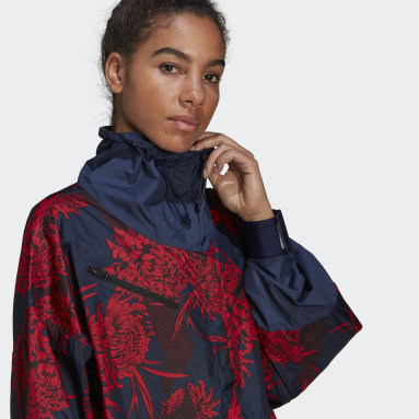 Dam adidas by Stella McCartney Röd adidas by Stella McCartney Future Playground Half-Zip Printed Jacka