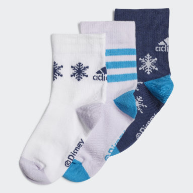 Kids 4-8 Years Gym & Training Blue Frozen Crew Socks 3 Pairs