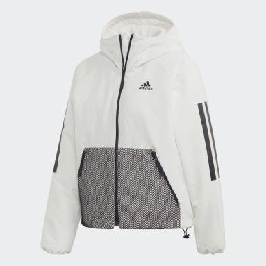 Ženy Městský Outdoor bílá Bunda Back-to-Sports 3-Stripes Hooded Insulated