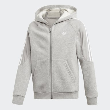 Kids Originals Grey Outline Hoodie