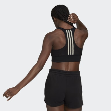 Women's Yoga Black AEROREADY Designed 2 Move 3-Stripes Sports Bra Top