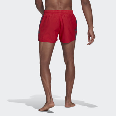 Men Swimming Red Classic 3-Stripes Swim Shorts