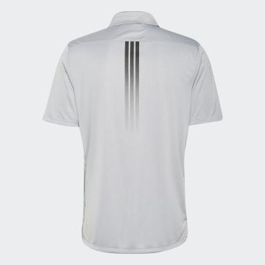 Muži Golf šedá Polokošile Solid 3-Stripes