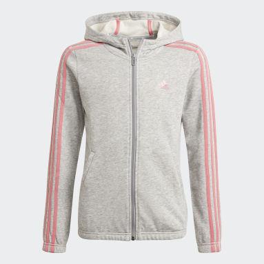 Mädchen Sportswear Essentials 3-Streifen Kapuzenjacke Grau