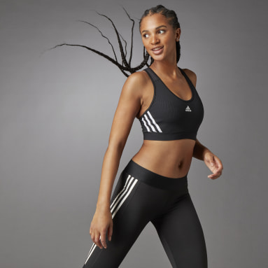 Women Gym & Training Black Believe This 3-Stripes Medium Support Rib Bra