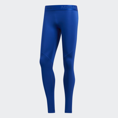 Men Yoga Blue Alphaskin Sport Long Tights