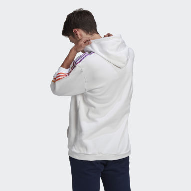 Men Originals White adidas SPRT 3-Stripes Hoodie
